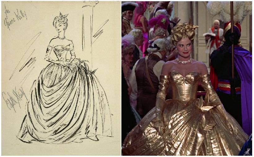 Atrapa a un ladrón: glamour bajo el sol del Mediterráneo. Boceto de Edith Head y traje.