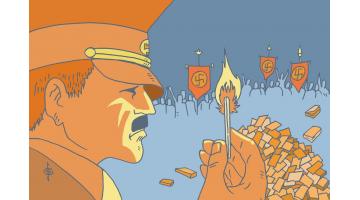 ¿Arde bien la literatura infantil y juvenil? Artículo e ilustración de Santiago García-Clairac.