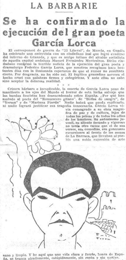 Muerte de Lorca en la prensa de la época